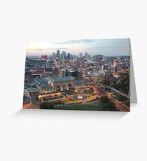 Union Station and Kansas City Skline - Dusk Greeting Card
