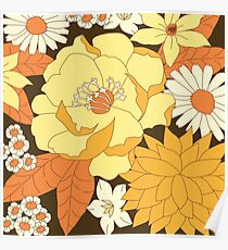 Yellow, Orange and Brown Vintage Floral Pattern Poster