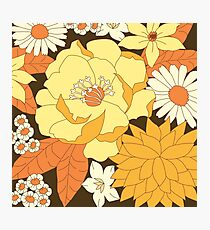 Yellow, Orange and Brown Vintage Floral Pattern Photographic Print