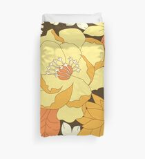 Yellow, Orange and Brown Vintage Floral Pattern Duvet Cover