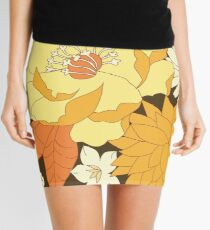 Yellow, Orange and Brown Vintage Floral Pattern Mini Skirt