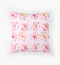 Peach Pink Hibiscus Tropical Flowers Throw Pillow