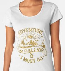 Adventure is Calling Gold Chevron Mountains Women's Premium T-Shirt