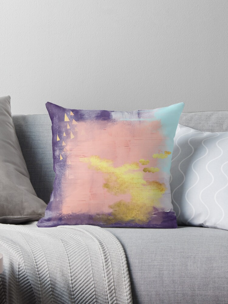 Modern abstract art in pink and gold by UrbanEpiphany