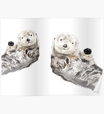 Sweet Loving Sea Otters Couple Poster