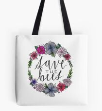Save The Bees - Floral (Color) Tote Bag