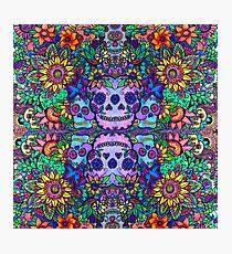 Zentangle Garden with Sugar Skulls Photographic Print