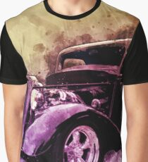 34 Ford Three Window Coupe Pen and Ink Watercolour Graphic T-Shirt