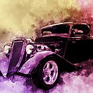 34 Ford Three Window Coupe Pen and Ink Watercolour by ChasSinklier