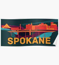 Abstract Spokane Cityscape Poster