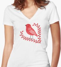 Red Bird Women's Fitted V-Neck T-Shirt