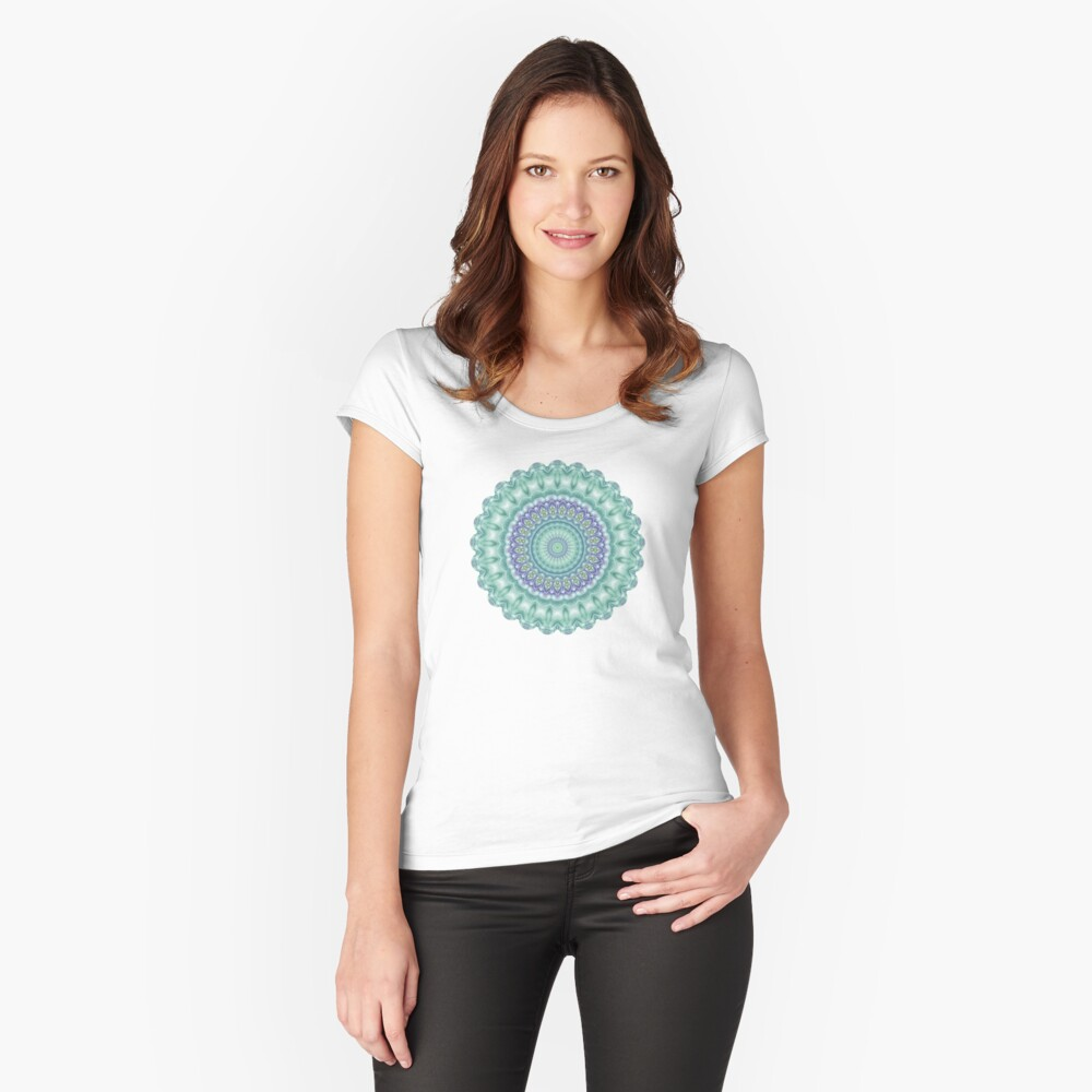 Bright Green and Purple Mandala of Balance Women's Fitted Scoop T-Shirt Front