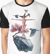"""Weighted"" Original Oil Painting Floating Boulder, Cherry Blossom, Woman and Blue Birds Graphic T-Shirt"