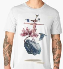"""Weighted"" Original Oil Painting Floating Boulder, Cherry Blossom, Woman and Blue Birds Men's Premium T-Shirt"