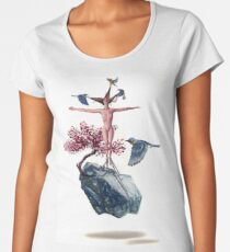 """""""Weighted"""" Original Oil Painting Floating Boulder, Cherry Blossom, Woman and Blue Birds Women's Premium T-Shirt"""