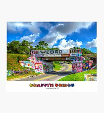 Graffiti Bridge - A Pensacola Landmark (wText) Photographic Print