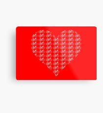 Bike Heart (Red-White) (Small) Metal Print