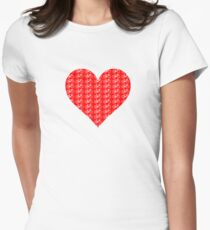 Bike Heart (Red-White) (Small) Womens Fitted T-Shirt