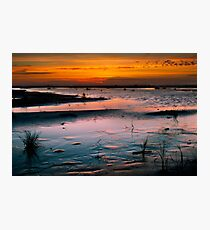 Grayland Beach Mud Flats at Sunset Photographic Print