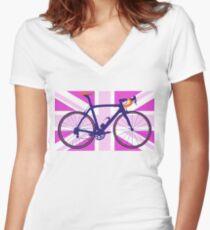 Bike Flag United Kingdom (Pink) (Big - Highlight) Women's Fitted V-Neck T-Shirt