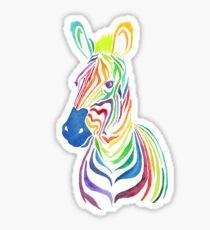 Regenbogenzebra in den mutigen Aquarellen Sticker
