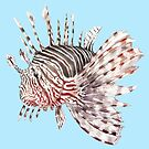 Lionfish Watercolor Tropical Fish Ocean by wanderinglaur