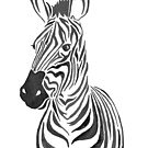 Zebra Illustration in Black and White by latheandquill