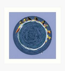banana boating in a small blue world Art Print