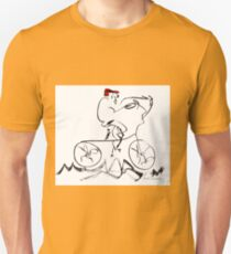 Bicycle Rider With Red Cap Unisex T-Shirt