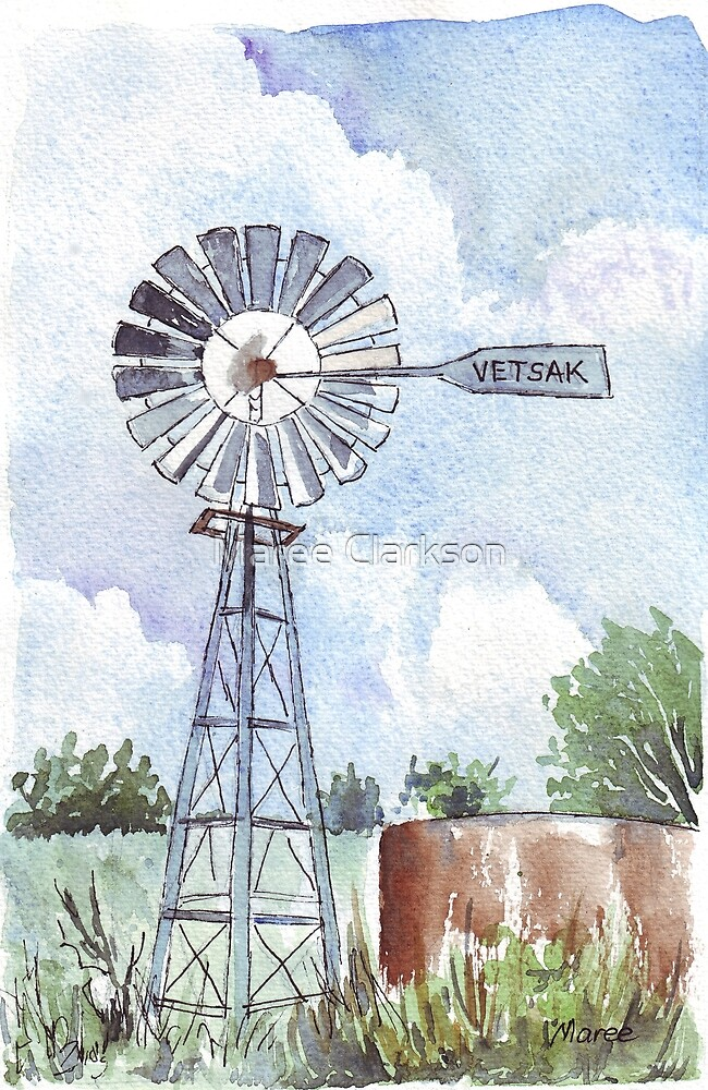 Another Windpomp and a dam by Maree Clarkson