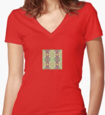Candy Abstract -- Stripe -  Women's Fitted V-Neck T-Shirt