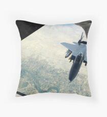 An F-15E Strike Eagle receives fuel from a KC-10 Extender. Throw Pillow
