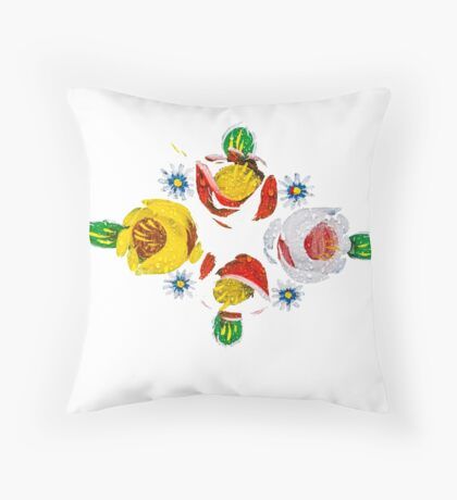 Canal flowers in the rain  Throw Pillow