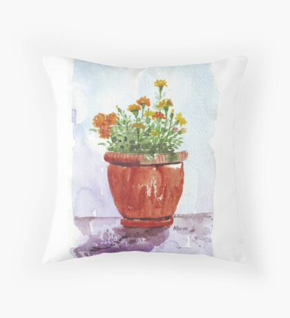 French Marigolds Throw Pillow