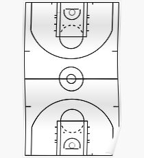 basketball court drawing posters redbubble