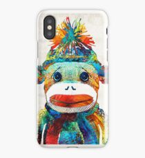 Sock Monkey Art - Your New Best Friend - By Sharon Cummings iPhone Case/Skin