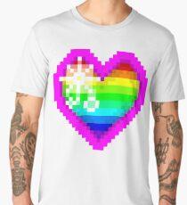Sparkly Rainbow Pixel Heart Men's Premium T-Shirt