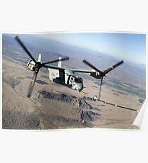 A Marine Corps MV-22 Osprey prepares to refuel midflight. Poster