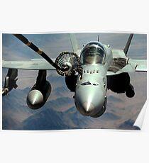 An F/A-18C Hornet receives fuel from the drogue of a KC-10 Extender. Poster