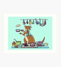 Kangaroo Makes Pancakes Art Print