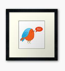 Cute bird saying hello Framed Print