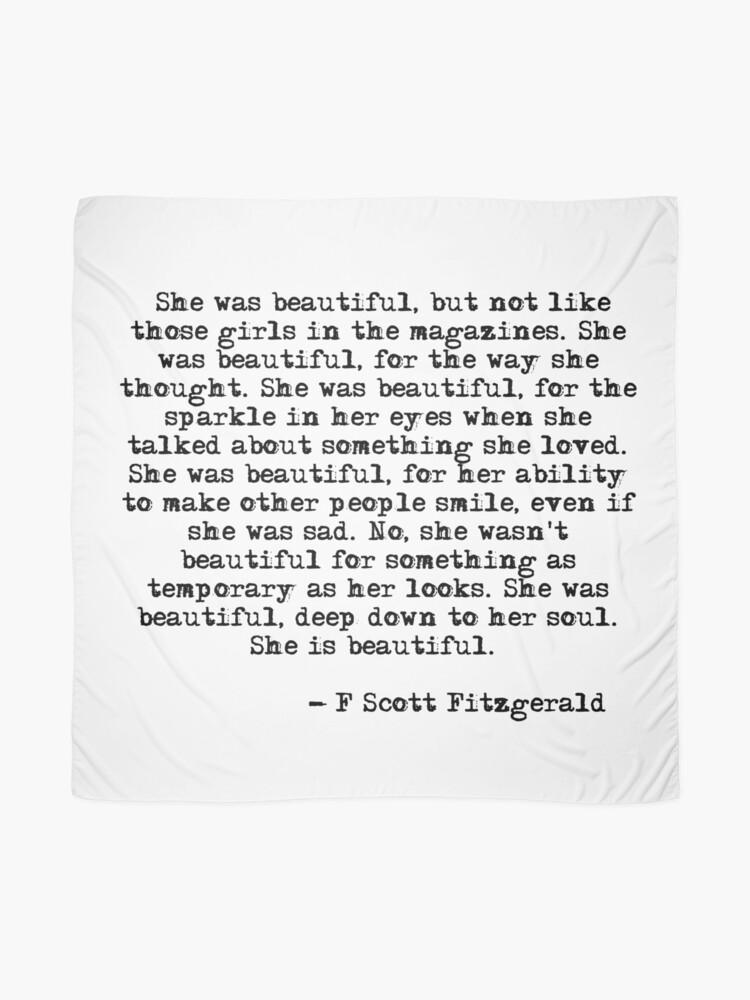Alternate view of She was beautiful - F Scott Fitzgerald Scarf