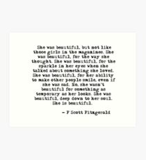 She was beautiful - F Scott Fitzgerald Art Print
