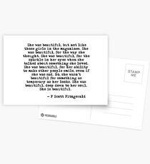 Sie war wunderschön - F Scott Fitzgerald Postkarten