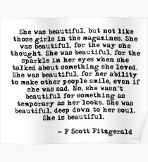 She was beautiful - F Scott Fitzgerald Poster