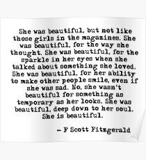 Sie war wunderschön - F Scott Fitzgerald Poster