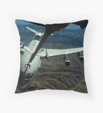 A U.S. Air Force E-3 Sentry aircraft refueling from a KC-10 Extender. Throw Pillow