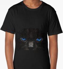Chat noir, yeux bleus Long T-Shirt