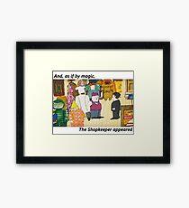 Mr Benn. As if by magic the shopkeeper appeared Framed Print