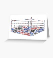Wrestling Ring Word Cloud Greeting Card
